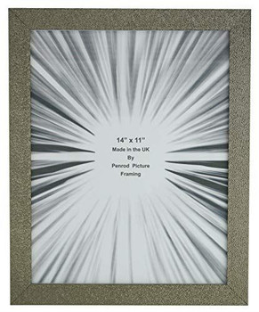 Charleston Shiny Sparkly Embossed Pewter 14x11 inch photo frame with mirror effect edge.