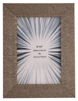 Charleston Shiny Sparkly Embossed Pewter 6x4 inch photo frame with mirror effect edge.