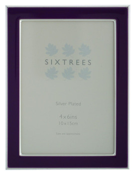 Sixtrees Kew 2-698-46 Silver Plated and Purple Enamel 6x4 inch Photoframe complete with Microfibre Polishing Cloth.