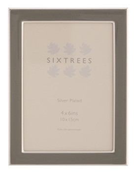 Sixtrees Kew 2-696-46 Silver Plated and Grey Enamel 6x4 inch Photoframe
