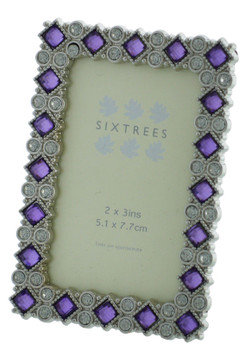Sixtrees 2-530-23 Bronte Ornate 3x2 inch silver photoframe with clear and purple crystals.