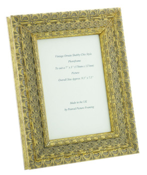 """Handmade Ornate Distressed Gold Shabby Chic Vintage Picture Frame for a 7"""" x 5"""" (178mm x 127mm) Photo"""