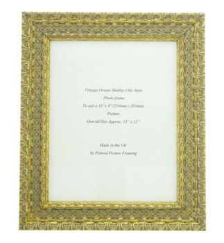"""Handmade Ornate Distressed Gold Shabby Chic Vintage Picture Frame for a 10"""" x 8"""" (254mm x 203mm) Picture"""