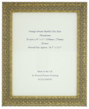 """Handmade Ornate Distressed Gold Shabby Chic Vintage Picture Frame for a 14"""" x 11"""" (357mm x 278mm) Photo"""