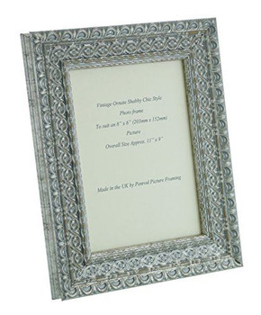 """Handmade Ornate Distressed Silver Shabby Chic Vintage Picture Frame for an 8"""" x 6"""" (203mmx152mm) Photo"""