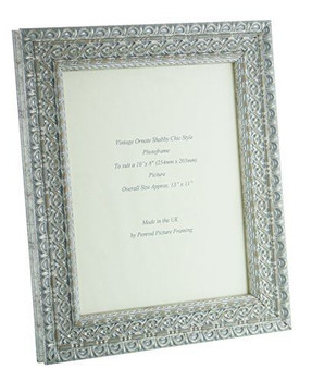 """Handmade Ornate Distressed Silver Shabby Chic Vintage Picture Frame for a 10"""" x 8"""" (254mm x 203mm) Picture"""