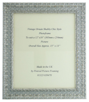 """Handmade Ornate Distressed Silver Shabby Chic Vintage Picture Frame for a 12"""" x 10"""" (305mm x 254mm) Picture"""