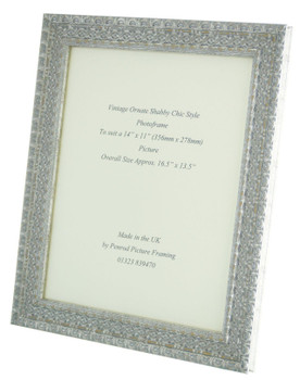 """Handmade Ornate Distressed Silver Shabby Chic Vintage Picture Frame for a 14"""" x 11"""" (357mm x 278mm) Photo"""