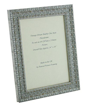 Handmade Ornate Distressed Silver Shabby Chic Vintage Picture Frame for an A4 (297mmx210mm) Photo
