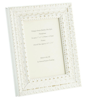 """Handmade Ornate Distressed White Shabby Chic Vintage Picture Frame for a 7"""" x 5"""" (178mm x 127mm) Photo"""