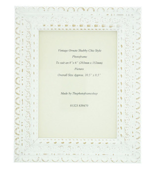 """Handmade Ornate Distressed White Shabby Chic Vintage Picture Frame for an 8"""" x 6"""" (203mmx152mm) Photo"""