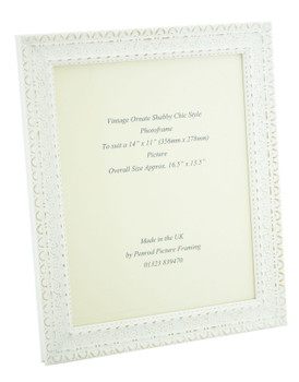 """Handmade Ornate Distressed White Shabby Chic Vintage Picture Frame for a 14"""" x 11"""" (357mm x 278mm) Photo"""