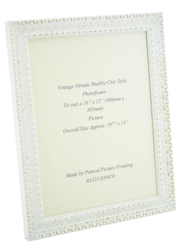"""Handmade Ornate Distressed White Shabby Chic Vintage Picture Frame for a 16"""" x 12"""" (406mm x. 305mm) Photo."""