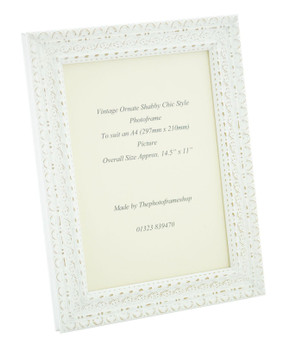 Handmade Ornate Distressed White Shabby Chic Vintage Picture Frame for an A4 (297mmx210mm) Photo