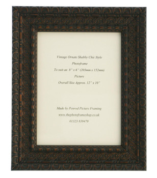 """Handmade Ornate Distressed Black Shabby Chic with dark brown highlights Vintage Picture Frame for an 8"""" x 6"""" (203mmx152mm) Photo."""