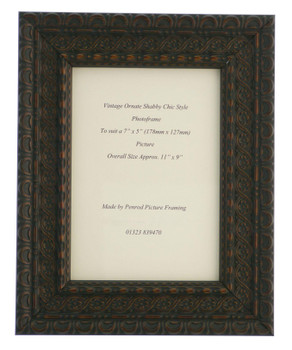 """Handmade Ornate Distressed Black Shabby Chic with dark brown highlights Vintage Picture Frame for a 7"""" x 5"""" (178mm x 127mm) Photo."""