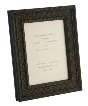 """Handmade Ornate Distressed Black Shabby Chic with dark brown highlights Vintage Picture Frame for a 10"""" x 8"""" (254mm x 203mm ) Picture."""