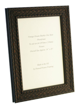 Handmade Ornate Distressed Black Shabby Chic with dark brown highlights Vintage Picture Frame for an A4 (297mmx210mm) Photo.