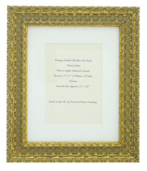 """Handmade Ornate Distressed Antique Gold Shabby Chic Vintage Picture Frame with a single mount for a 7"""" x 5"""" (178mm x 127mm) Photo"""
