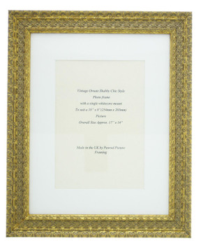 """Handmade Ornate Distressed Antique Gold Shabby Chic Vintage Picture Frame with a single mount for a 10"""" x 8"""" (254mm x 203mm) Photo."""