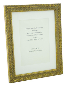 Handmade Ornate Distressed Antique Gold Shabby Chic Vintage Picture Frame with a single mount for an A4 (277mm x 210mm) Photo.