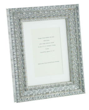 """Handmade Ornate Distressed Antique Silver Shabby Chic Vintage Picture Frame with a single mount for a 6"""" x 4"""" (152mm x 102mm) Photo"""