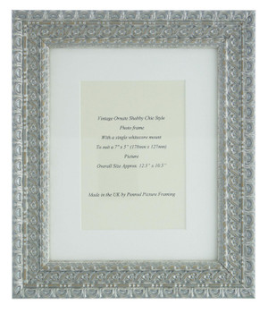 """Handmade Ornate Distressed Antique Silver Shabby Chic Vintage Picture Frame with a single mount for a 7"""" x 5"""" (178mm x 127mm) Photo"""