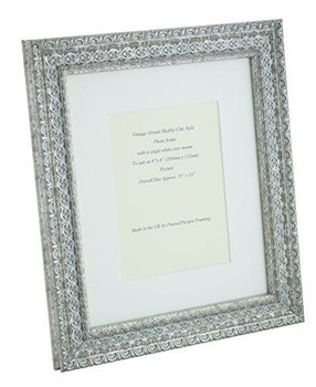 """Handmade Ornate Distressed Antique Silver Shabby Chic Vintage Picture Frame with a single mount for an 8"""" x 6"""" (203mm x 152mm) Photo."""