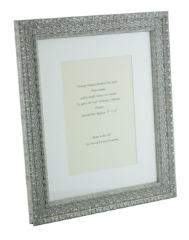 """Handmade Ornate Distressed Antique Silver Shabby Chic Vintage Picture Frame with a single mount for a 10"""" x 8"""" (254mm x 203mm) Photo."""