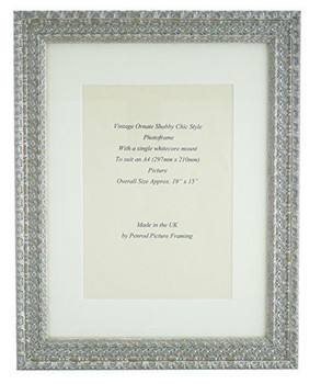 Handmade Ornate Distressed Antique Silver Shabby Chic Vintage Picture Frame with a single mount for an A4 (297mm x 210mm) Photo.