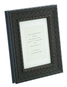 """Handmade Ornate Distressed Black with brown highlights Shabby Chic Vintage Picture Frame with a single mount for a 5"""" x 3.5"""" (127mm x 89mm) Photo"""
