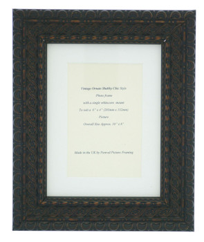 """Handmade Ornate Distressed Black with brown highlights Shabby Chic Vintage Picture Frame with a single mount for a 6"""" x 4"""" (152mm x 102mm) Photo"""