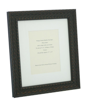 """Handmade Ornate Distressed Black with brown highlights Shabby Chic Vintage Picture Frame with a single mount for an 8"""" x 6"""" (203mm x 152mm) Photo."""