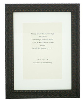 Handmade Ornate Distressed Black with brown highlights Shabby Chic Vintage Picture Frame with a single mount for an A4 (277mm x 210mm) Photo.
