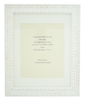 """Handmade Ornate Distressed Antique White Shabby Chic Vintage Picture Frame with a single mount for a 10"""" x 8"""" (254mm x 203mm) Photo."""