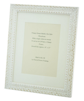 Handmade Ornate Distressed Antique White Shabby Chic Vintage Picture Frame with a single mount for an A4 (277mm x 210mm) Photo.