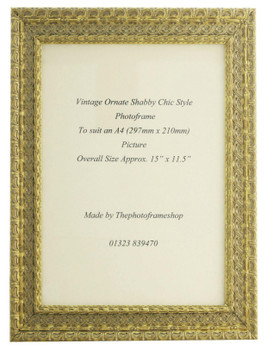 Handmade Ornate Distressed Gold Shabby Chic Vintage Picture Frame for an A4 (297mmx210mm) Photo