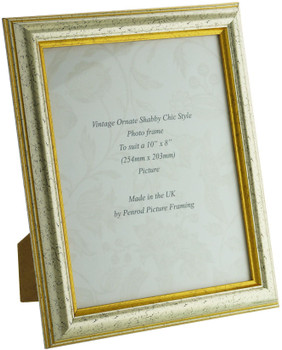 Sorrento Silver Handmade 10x8 inch  Photo Frame Distressed with  gold highlight
