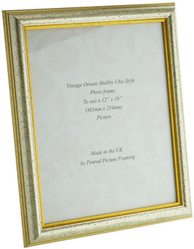 Sorrento Silver Handmade 12x10 inch  Photo Frame Distressed with  gold highlights
