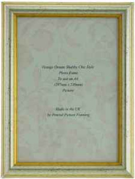 Sorrento Silver Handmade A4 Photo Frame Distressed with gold highlights..thumb