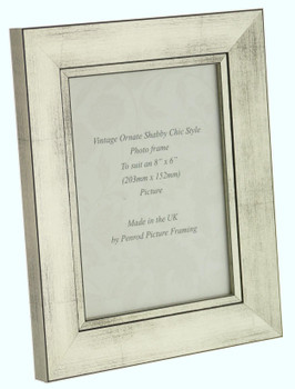 Oslo Antique Silver Handmade 8x6 inch Photo Frame in Modern Distressed Antique Silver