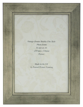 Oslo Antique Silver Handmade A4 Photo Frame in Modern Distressed Antique Silver