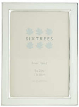 Sixtrees Kew 2-684-57 7x5 inch Silver Plated and White Enamel Photoframe.thumb