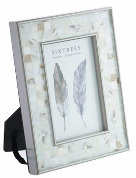 Sixtrees Julietta 2-688-46 Silver 6x4 inch Photo Frame with Mosaic effect insert.