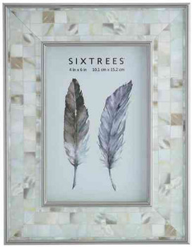 Sixtrees Julietta 2-688-46 Silver 6x4 inch Photo Frame with Mosaic effect insert. thumb