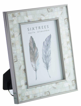 Sixtrees Julietta 2-688-57 Silver 7x5 inch Photo Frame with Mosaic effect insert.