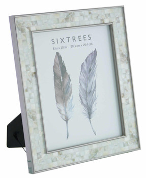 Sixtrees Julietta 2-688-80 Silver 10x8 inch Photo Frame with Mosaic effect insert.
