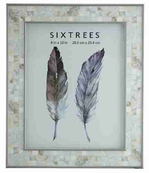 Sixtrees Julietta 2-688-80 Silver 10x8 inch Photo Frame with Mosaic effect insert. thumb
