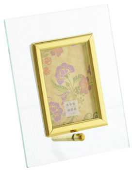 Sixtrees Flat Bevelled Glass Frame Gold - Portrait - 3x2 Inch