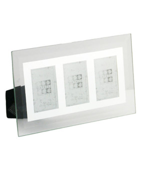 """Sixtrees Stanbridge GM172-3 Flat Bevelled Glass and Mirror Photo Frame fo Three 2"""" x 3"""" Photos. REBOXED"""